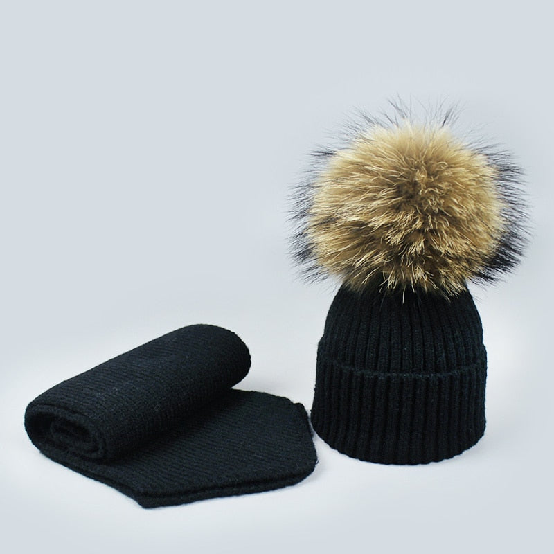 Autu Winter Women Men Fur Pompom Beanie Hat and Scarf Set Girl Baby Warm Wo Knitting Hats Scarves Solid Black Pink Navy Hat