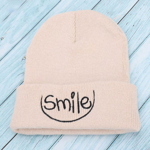 Autumn and winter new fashion knitted cotton hats beautiful smile embroidery warm and comfortable men and women general ski caps
