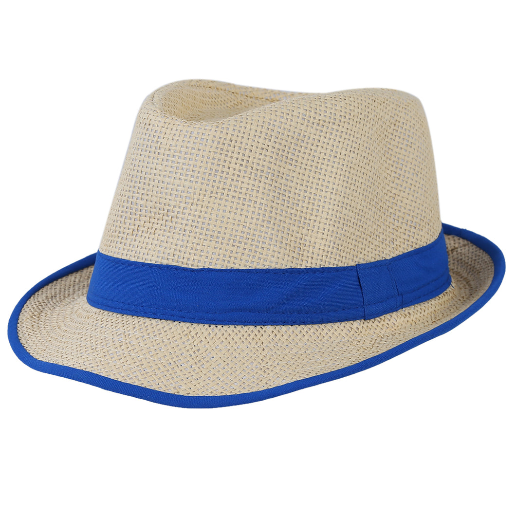 BCBY Blue Brim Exquisite Candy Color Belt Decorated Simply Designed Sun Hat For Men and Women