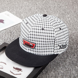 New Plaid embroidery Letter Labeling Shark Hip Hop Hat Flat Dome men and women Shopping Casual Korean Fashion Hat