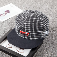 Load image into Gallery viewer, New Plaid embroidery Letter Labeling Shark Hip Hop Hat Flat Dome men and women Shopping Casual Korean Fashion Hat
