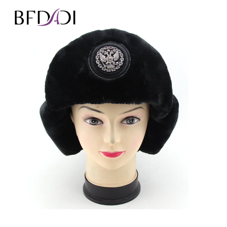 595cc05d85f Bomber hat female winter hats for men women thick warm russian cold cap  bone male ear