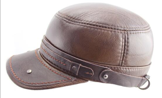 Winter mens faux leather cap warm hat baseball cap with ear flaps russia flat top caps for men Big Size 61cm Brown