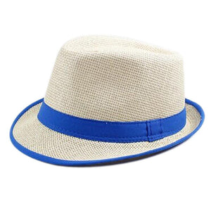 BFYL Blue Brim Exquisite Candy Color Belt Decorated Simply Designed Sun Hat For Men and Women