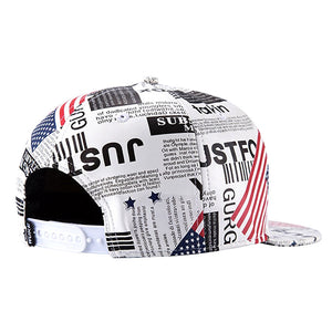 BFYL Embroidery Snapback, Baseball Hat Flat Brim Hip Hop Caps, Beige American newspaper pattern