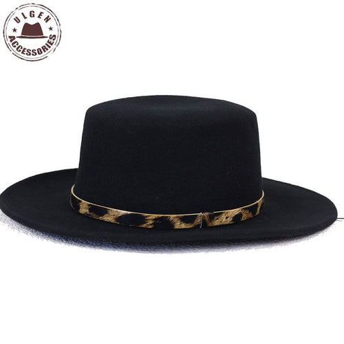 BIGBANG GD G-Dragon black fedora hats for men Pure Wo Large brim Winter mens pork pie hat Leopard band fedoras for men