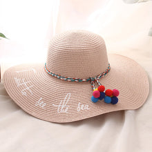 Load image into Gallery viewer, BINGYUANHAOXUAN 2018 New Style Adult Women Girls Fashion Embroidery Sun Hat UV Protect Big Bow Summer Beach Straw Hat