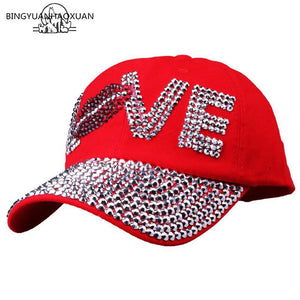 BINGYUANHAOXUAN Fashion Women Rhinestone CAPS Unisex Sun Hat Red Color  Point Drilling Cowboy Baseball Cap Brand Hat Cap c3e97f15a273