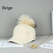 Load image into Gallery viewer, BINGYUANHAOXUAN Korean Hair ball Knitted wo cap Autumn hat women Keep warm Curved eaves Raccoon fur Peaked cap Baseball Caps