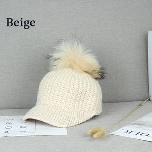 BINGYUANHAOXUAN Korean Hair ball Knitted wo cap Autumn hat women Keep warm Curved eaves Raccoon fur Peaked cap Baseball Caps