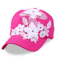Load image into Gallery viewer, BINGYUANHAOXUAN New Brand Women Snapback Baseball Caps Diamond Simulated Full Lace Flower Hat Hip Hop Snapback Casual Girls Cap