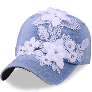 BINGYUANHAOXUAN New Brand Women Snapback Baseball Caps Diamond Simulated Full Lace Flower Hat Hip Hop Snapback Casual Girls Cap