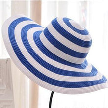 Load image into Gallery viewer, BINGYUANHAOXUAN Women's 2018 Straw Panama Sun Hat Black Striped Overflowed Floppy Fashion
