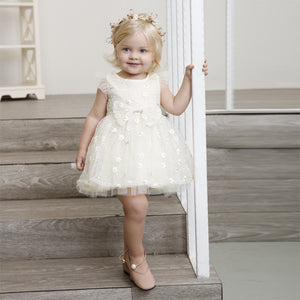 baby girl dress 2020 new summer flower baby dresses cap sleeve embroidery tulle sleeve beige little girl party dress
