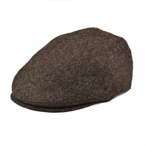 Wo Tweed Flat Cap Men Women Large Check Herringbone Retro Ivy Hat with Soft Lining Driver Cap Newsboy 002