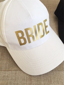 BRIDE SQUAD Baseball Caps Golden Print New Style Hats Women Wedding Preparewear White Black Bachelor party Summer Lovers Hats