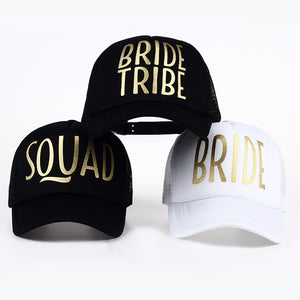 BRIDE Wedding Baseball Cap Gold Print Mesh Hat Women Party Brand Bachelor Club T SQUAD TRIBE Snapback Caps Beach Casquette