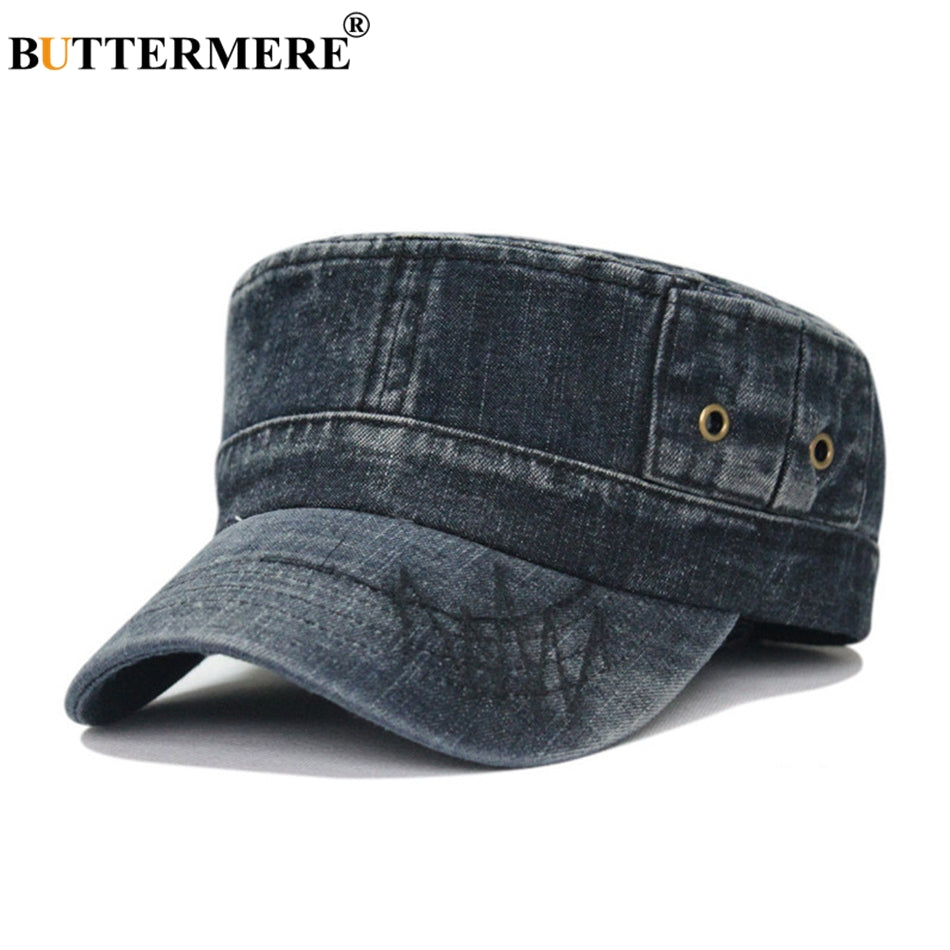 Army Hats Denim Mens Vintage Spring Summer Baker Boy Hat Male Casual Flat Top Jeans Beret Military Caps And Hats