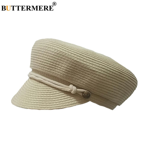 Baker Boy Hats Women Straw Beige Casual Military Cap Ladies Beret Hat Summer Spring Vintage Female Beach Army Caps