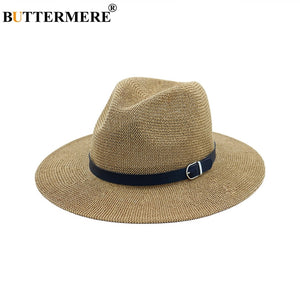 Beach Straw Hat Brown Women Mens Wide Brim Elegant Panama Hat Fedora Female Casual Fashionable Summer Sun Hats