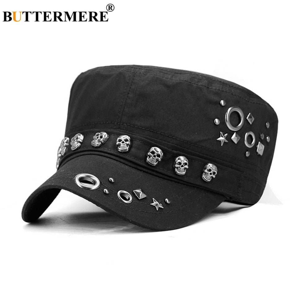 Cot Military Hat Men Black Punk Flat Cap Women Skull Rivet Army Caps Casual  Autu Classic Sailor Hats Male b61ec47db84c