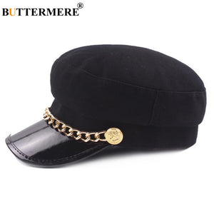 Ladies Military Hat Women Chain Cap Woolen Leather Patchwork Newsboy Cap Fashion Female Baker Boy Cap Autu Winter