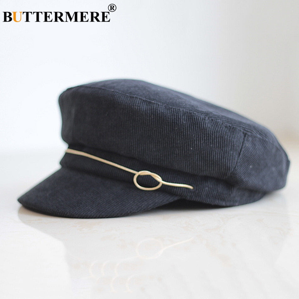 Men'S Hats For Autumn Newsboy Cap Corduroy Khaki Painter Hat Flat Women Solid Casual Classic Baker Boy Cap Black 2018
