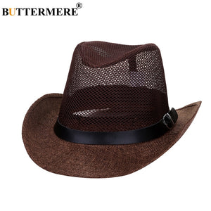 2b0ce1ff0fd Mens Cowboy Hats Straw Brown Classic Summer Beach Sun Hat Stylish Vintage  Casual Spring Straw Hat And Caps With Belt