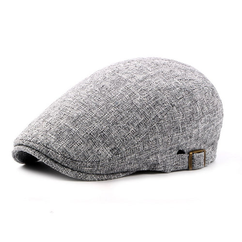 Mens Linen Flat Caps Adjustable Vintage Spring Summer Beret Hat Male Casual Gatsby Style Gifts British Duckbill Hats