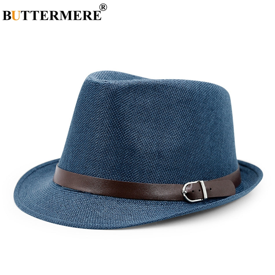 da8eef00 Mens Panama Hat Linen Navy Blue Hawaiian Summer Beach Sun Hat Lady Casual  Designer Straw Fedora Hats Brand