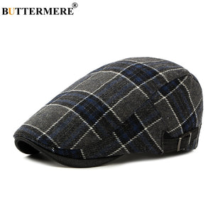 Navy Blue Plaid Flat Caps Mens Casual Winter Classic Hat For Women Autu Fashion 2020 Winter Wo Tweed Cap And Hats