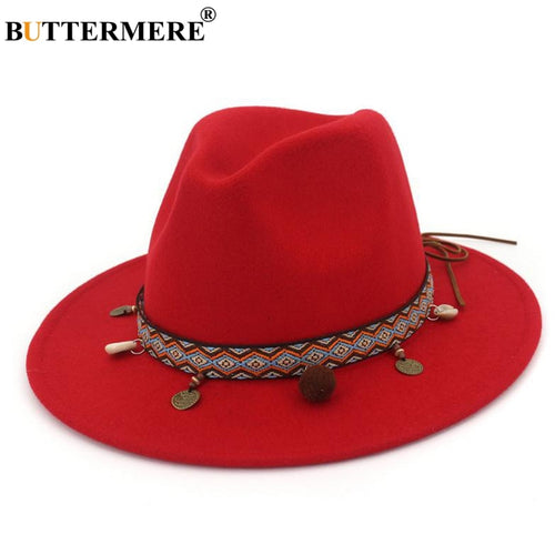 Red Fedoras Hats For Women Ethnic Style Wo Felt Hat Female Wide Brim Casual Ladies Autu Holiday Jazz Caps Fashion