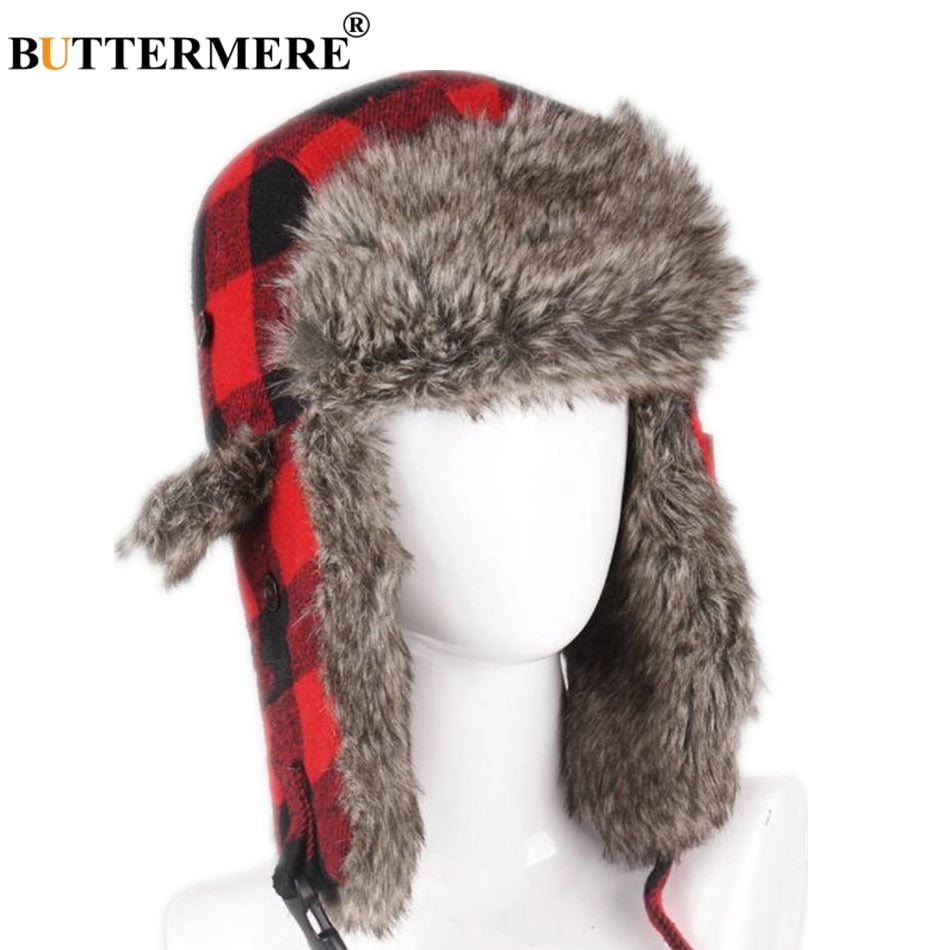 Russian Winter Hat Ushanka Women Men Outdoor Bomber Hats Plaid Fur Warm  Thick Snow Red Pilot Earflap Trapper Hat 215178fd2ef