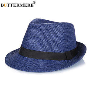 3fb7729123af7 Straw Fedora Hats Mens Navy Blue Vintage Summer Beach Hat Ladies Casual  England Style Designer Classic