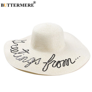 988c1516efe Straw Hats For Women White Large Brim Sun Hat Ladies Letter Casual Beach  Hats Female Panama