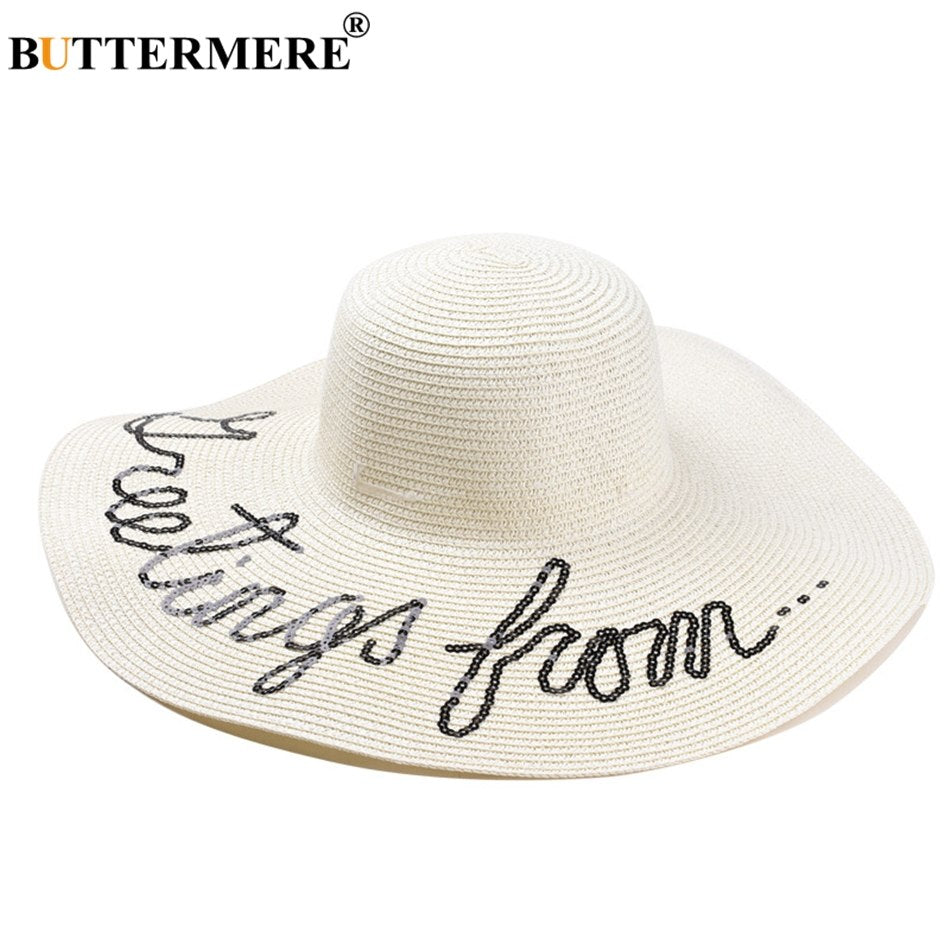 Straw Hats For Women White Large Brim Sun Hat Ladies Letter Casual Beach  Hats Female Panama Cap Summer 2018 New 861febeee59