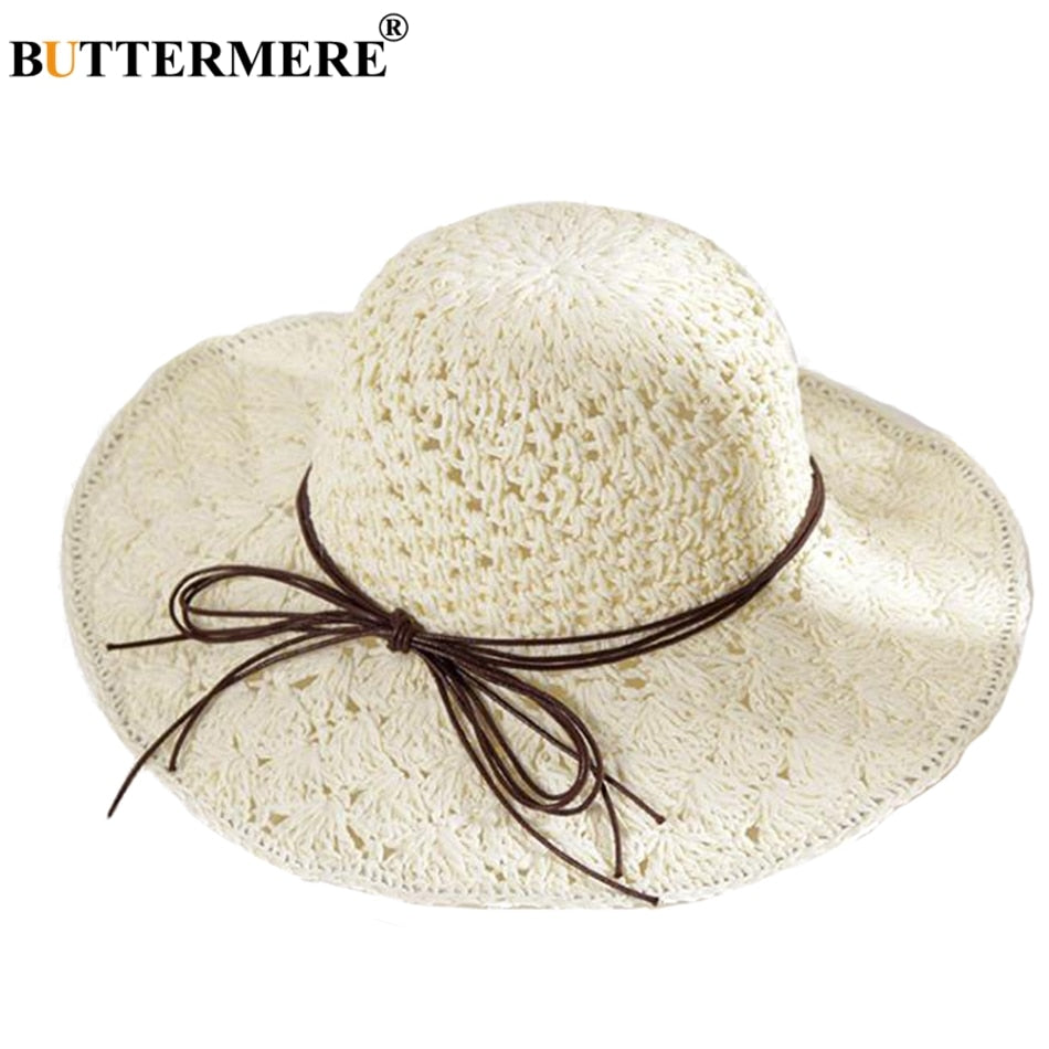 85160ff7b Sun Hat Women Straw White Crochet Beach Cap Female Folding Hollow Uv  Bowknot Wide Brim Summer Hats New Fashion 2018