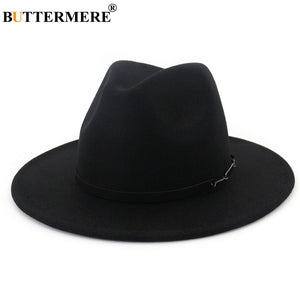 Wide Brim Fedoras Men Wo Hats Khaki Casual Jazz Hat Women Large Brim Solid Belt Autumn Fashion Fedora Caps Black