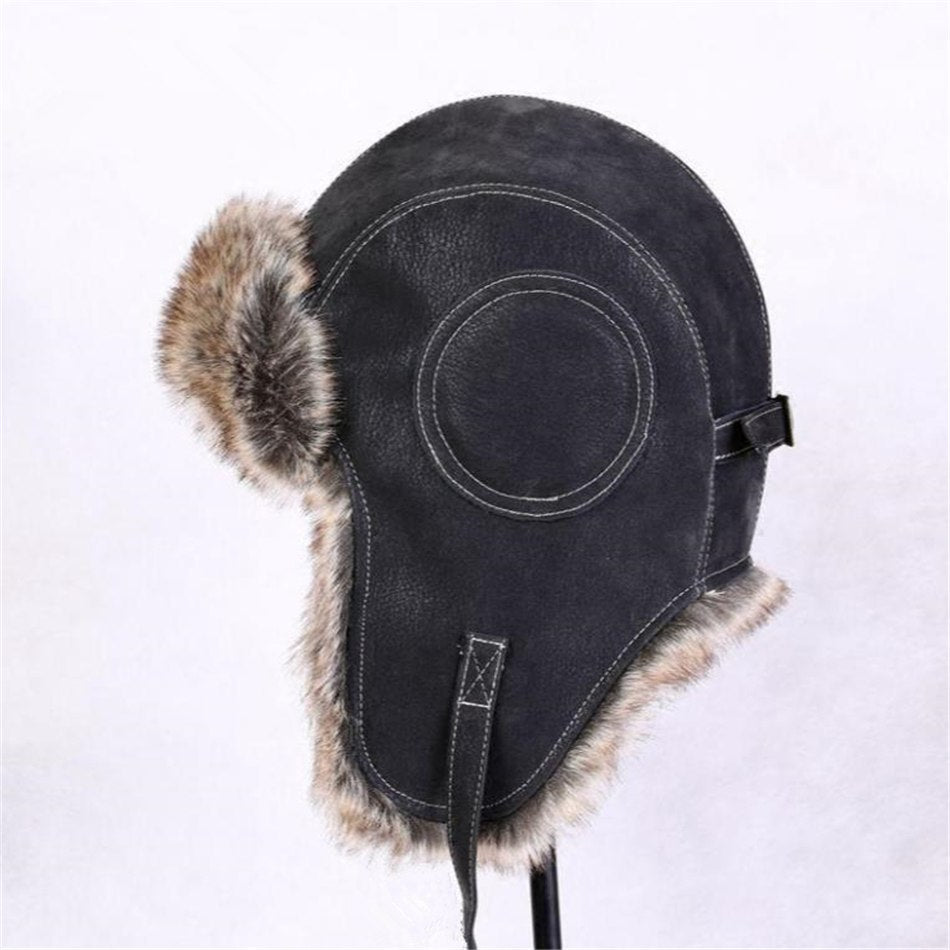 6cd6e883f Winter Hats For Men Women Brown Ear Flaps Leather Russian Winter Hat  Ushanka Bomber Trapper Hat Male Fur Snow Caps