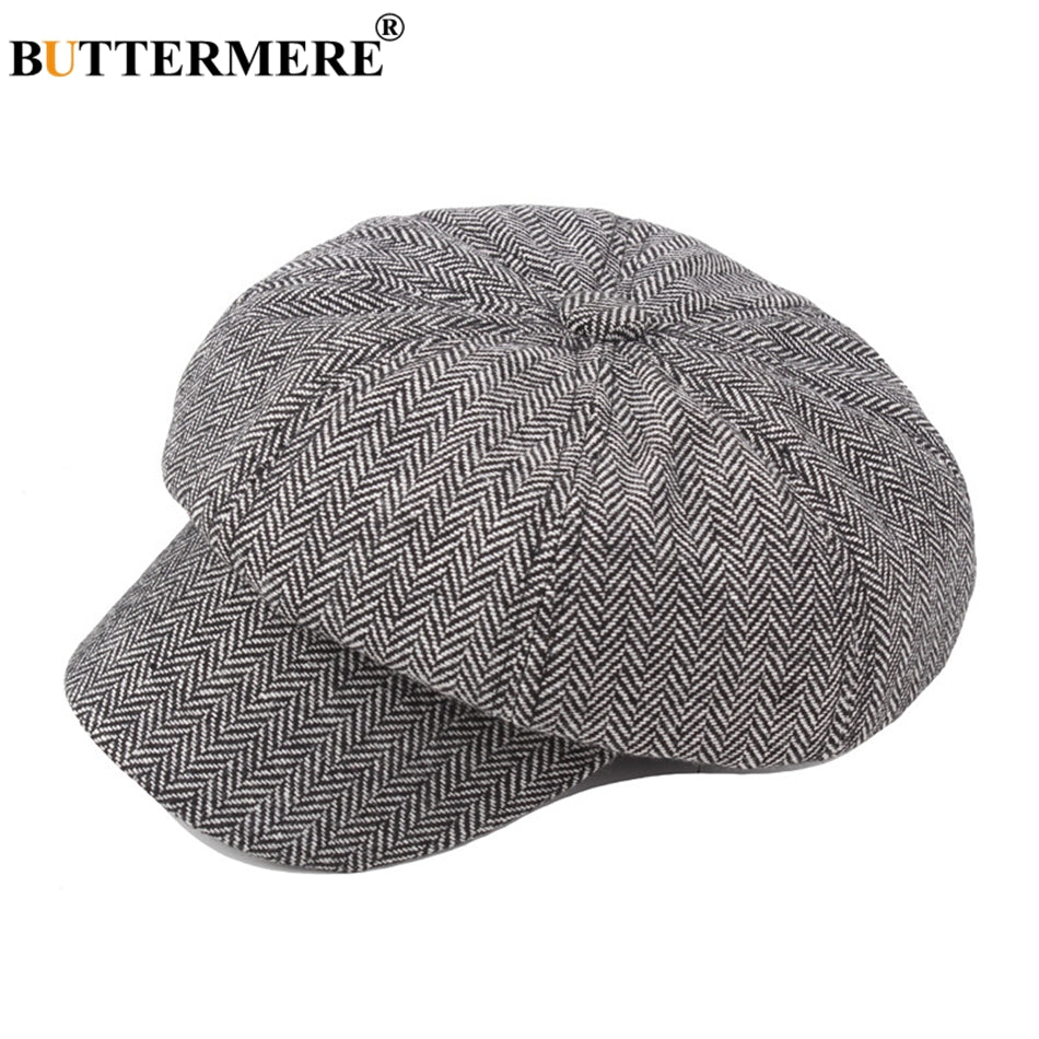 Women Men Flat Beret Cap Herringbone Female Vintage Tweed Newsboy Wo Caps Octagonal Spring Autu Gatsby Hats