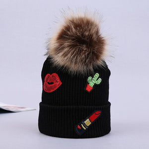 Baby Girls Hat Winter Warm Crochet Knit Beanie Ski Cap Black Faux Fur Pom Bobble Skullies Girls Red Lip Hat New