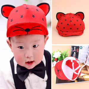 Baby Hat Summer Baby Hats With Ears Baseball Cap Baby Boys Girls Cotton Sun Hat Red,Yellow,Blue,Black,Beige