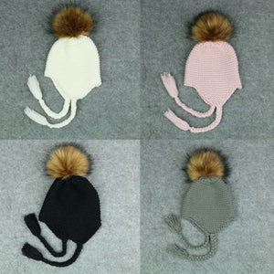 cee2dff218f1 Baby Kids Fur Pom Bobble Cap Newborn Boys Girl Warm Knit Beanie Hat ...