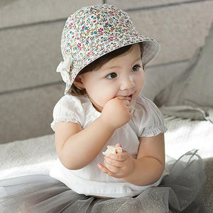 ca4474599bd Baby Summer Flower Print Cot Hat Kids Girl Floral Bowknot Cap Sun Bucket  Hats reversible Wear