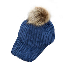 Load image into Gallery viewer, Baseball Cap 2020 New fashion cute co solid Women Raccoon Fur Ball Hip Hop Casual hat girl Adju summer spring winter sunhats