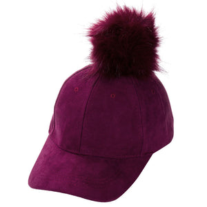 Baseball Caps New Women Faux Fox Fur Pompom Ball Suede Adjustable Baseball Cap Hip-Hop Hat UK