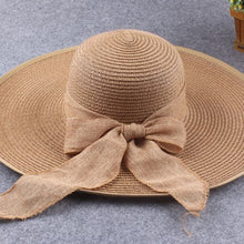 Load image into Gallery viewer, Beach Cap Bow Tie Lady Boater Hats Snapback Hats In The Summer Straw Hats Sun Cap Women's Cap Foldable Caps, UV Protection