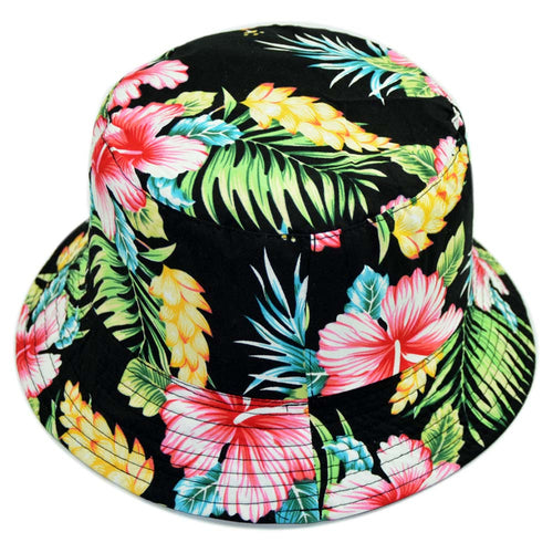 Beach Style Bucket Hats Men Reversible Two Side Wear Fisherman Hats Floral Flower Print 100% Cot Panama Sun Hip Hop Straw Cap