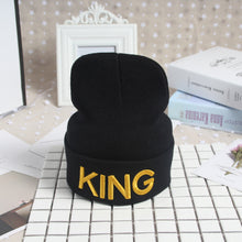 Load image into Gallery viewer, Beanies Cap KING QUEEN Letter Embroidery Warm Winter Hat Knitted Cap Hip Hop Men Women Lovers Street Dance Bonnet Skullies Black