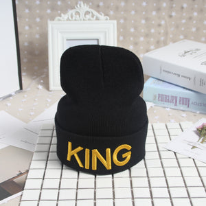 Beanies Cap KING QUEEN Letter Embroidery Warm Winter Hat Knitted Cap Hip Hop Men Women Lovers Street Dance Bonnet Skullies Black